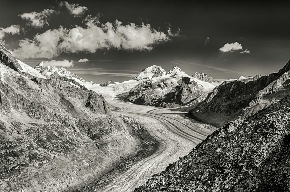 Blick auf den Aletschgletscher und das Jungfraumassiv
