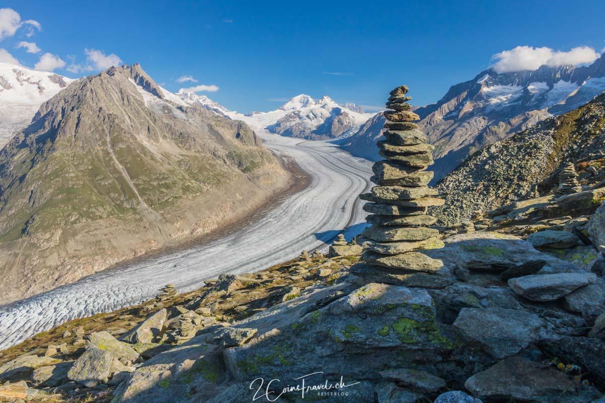 Aletschgletscher mit Eiger, Mönch und Jungfrau vom Eggishorn aus