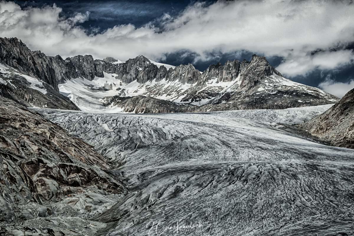 Blick auf den Rhonegletscher am Furkapass