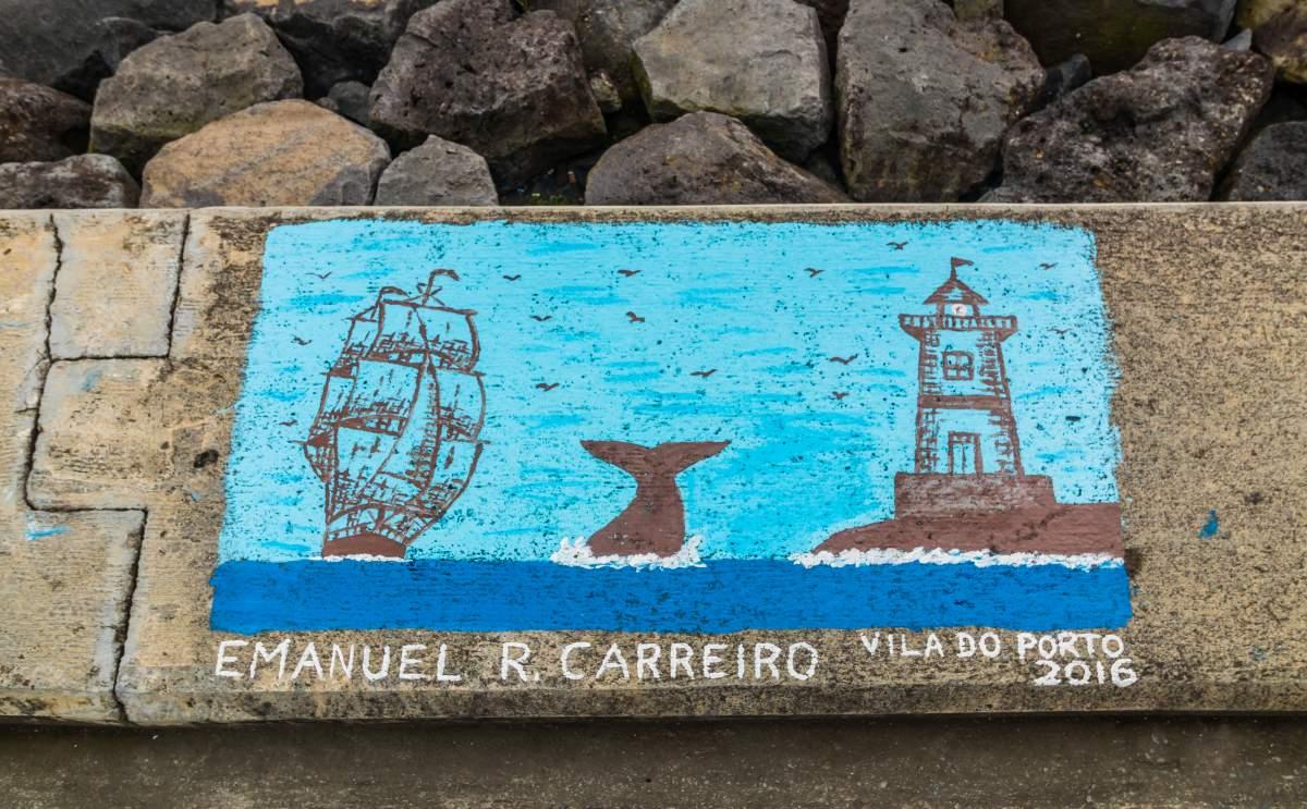 Wandbild im Hafen von Ponta Delgada