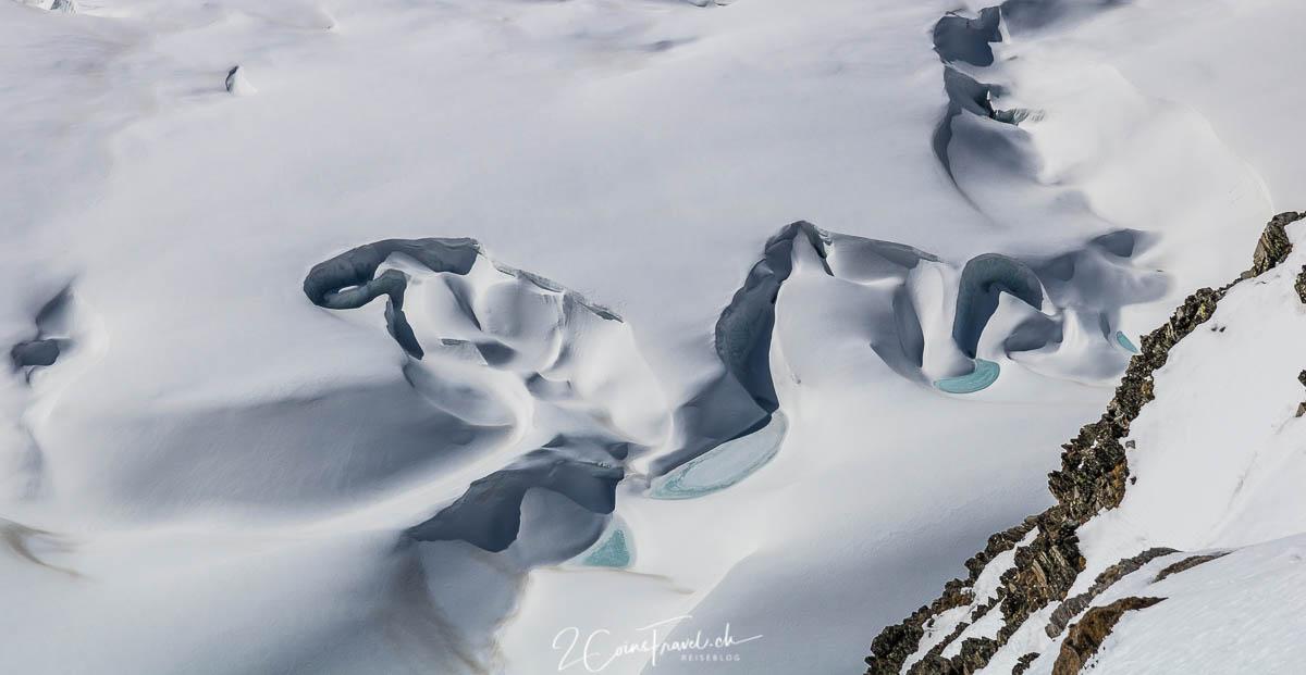 Gletscherspalten und Formen