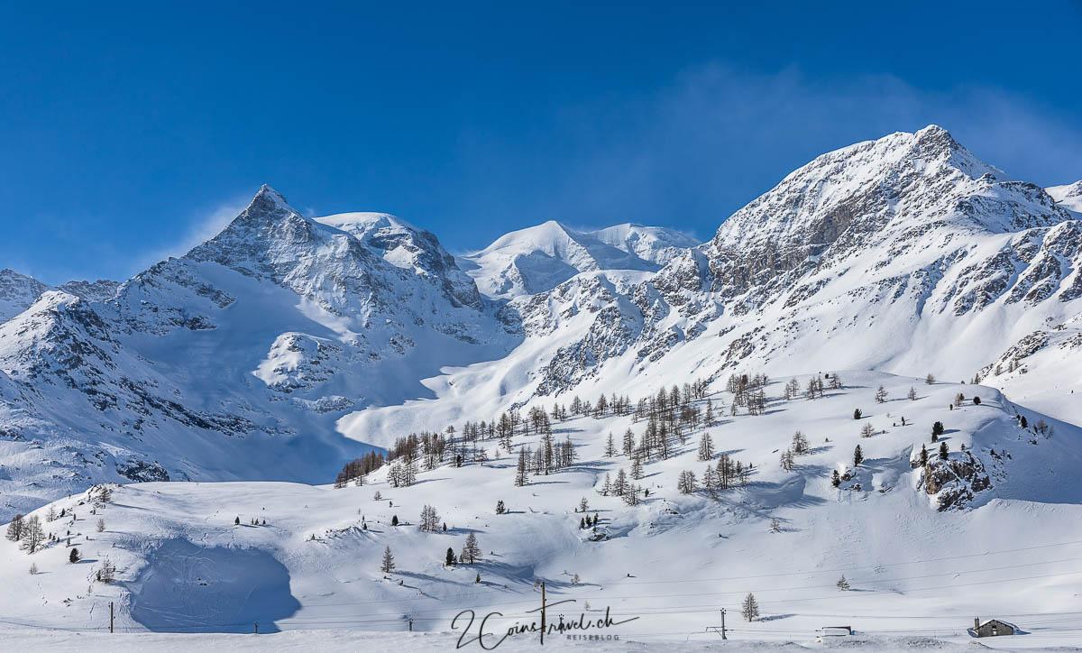Berninapass im Winter