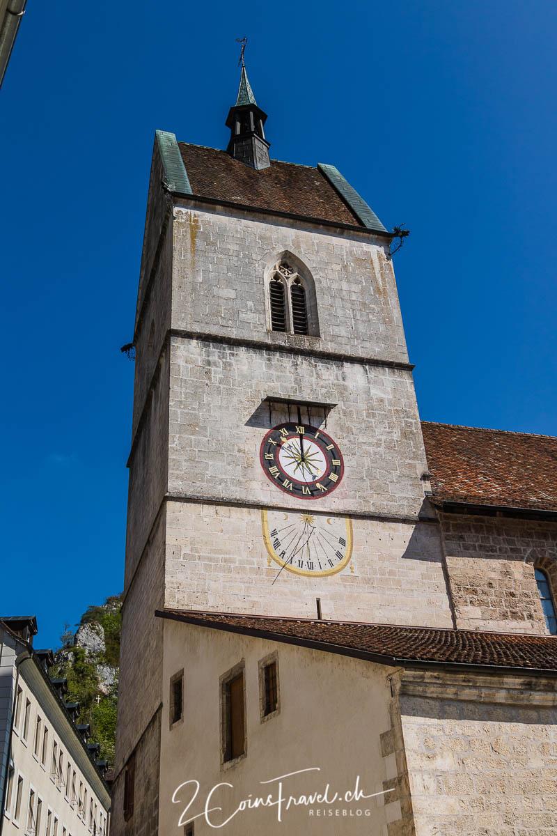 Turmuhr der Stiftskirche in Saint Ursanne