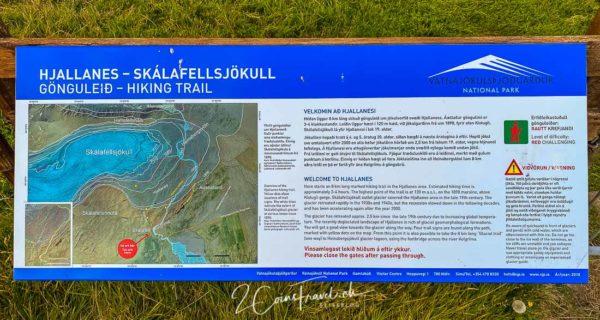 Hinweistafel Wanderung Skálafelljökull